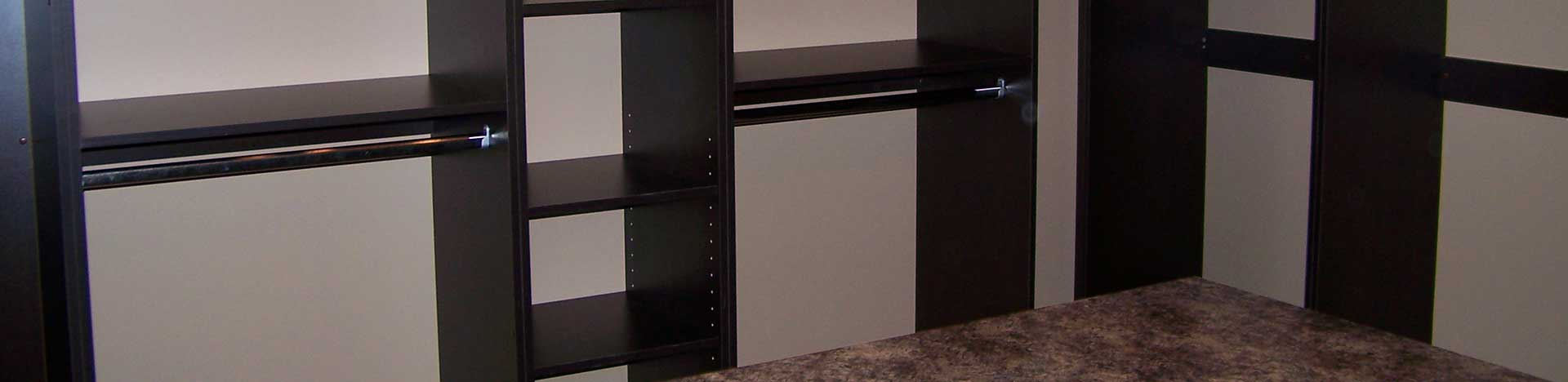 Dark Wood Closet Shelving