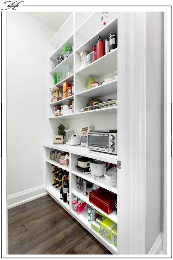 white butlers pantry shelving