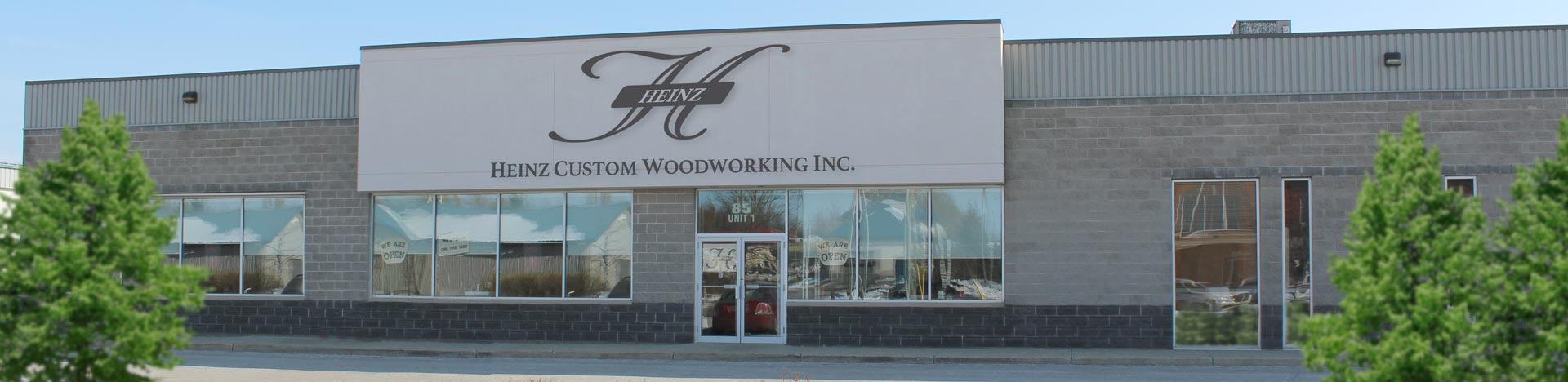 Front of building for Heinz Custom Woodworking